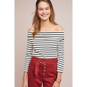 Anthropologie Striped off the shoulder top size L